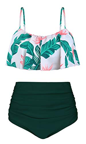Angerella Damen Ruffle Strap Badeanzug Crop Top Flounce Hohe Taille Bikini Set