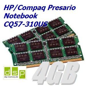 4GB Speicher / RAM für HP/Compaq Presario Notebook CQ57-310US (Set aus 2 Modulen) -