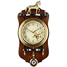 Fengfeng Reloj de Pared con péndulo, Relojes de Pared de Madera Retro Vintage Cuarzo Cobre