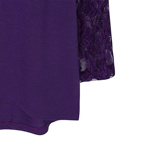 Manica Lunga Donna Solida Plus Size Lace Casual Camicetta Top Loose T-Shirt Camicia Gilet Manica Maglioni Cappotto Abiti Giacca Gonne Primavera Estate In Chiffon Di Cotone Stampa Viola