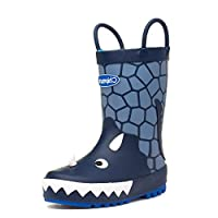 Chipmunks Trick Kids Navy Dinosaur Wellington Boot