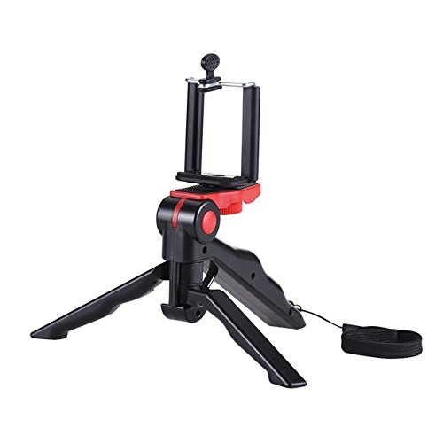 red: Andoer Mini Tripod Stand Support Holder Hand Grip Stabilizer with Smartphone Clip Bracket for iPhone for Samsung Galaxy