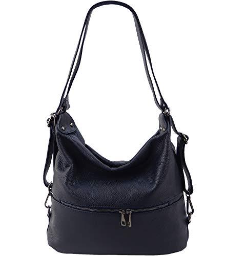 Freyday 2in1 Handtasche Rucksack Designer Luxus Henkeltasche aus 100% Echtleder (Dunkelblau)