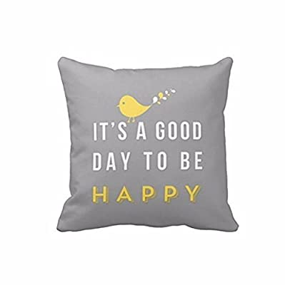 Cushion Cover, Lolittas 45cm*45cm Yellow Bird Letter Square Throw Pillow Case Cushion Cover Home Decor - inexpensive UK light shop.