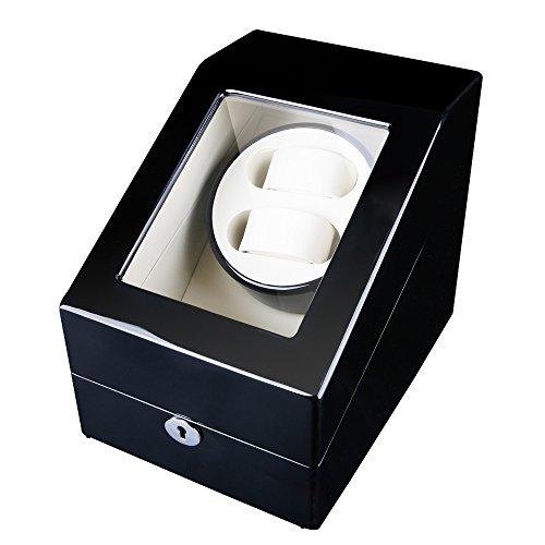 FIRWAY 5 Programm Uhrenbeweger 2 uhren für Automatikuhren mit 3 Uhrenkasten(Schwarz-weiße)