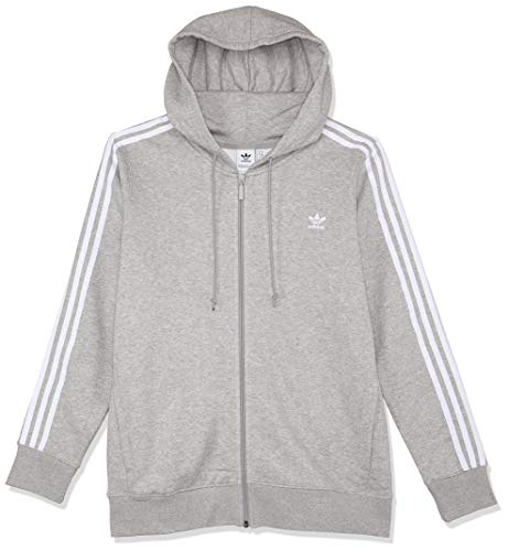 adidas Damen 3-Stripes Kapuzenjacke, Medium Grey Heather, 36