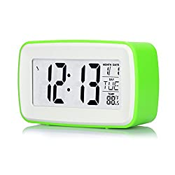 Generic 8 in 1 Touch Digital Smart Alarm Clock Personalized Recording LCD Screen with Snooze Function Date Temperature Display Clock Green