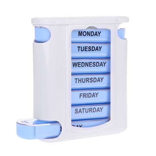 Lazder Tablettenbox für 7 Tage/Wochen, stapelbar, groß, 4 Fächer