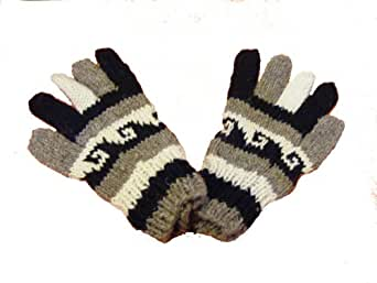 Hand knitted 100% Wool Black and White Gloves - Fair Trade