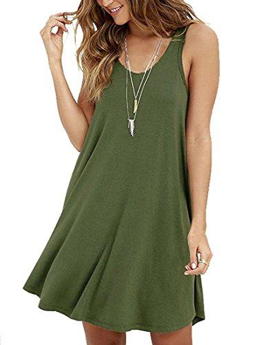 LILBETTER Frauen Ärmelloses Casual Loose T-Shirt Kleid Armeegrün XL(EU 46-48)