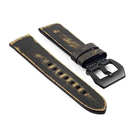 StrapsCo st13 Heavy Duty Watch Band with Paint Chipped Style Vintage Effect & Matte Black Buckle in Green 22mm