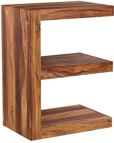 FineBuy Beistelltisch Massivholz Sheesham E Cube 60 cm Wohnzimmer-Tisch Design braun Landhaus-Stil Couchtisch Natur-Produkt Standregal Unikat Zeitungshalter Massivholzmöbel Echtholz Anstelltisch