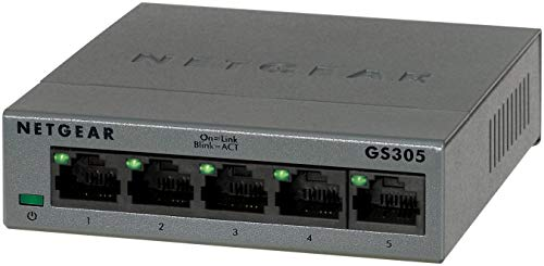 Netgear GS305 Switch 5 Puertos 10/100/100, Switch Gigabit Unmanaged, Switch ethernet de sobremesa, Caja de Metal sin Ventilador