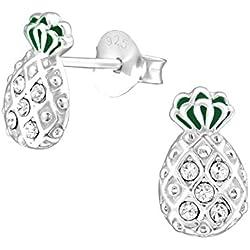 Tata Gisele© pendientes de plata 925/000rhodié y cristal Swarovski®–Piña