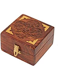 Wooden Jewellery Box For Ring & Earing Box Square Carving With Brass Corner Handmade 4 Inch - Sulfi Design