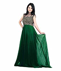 19 Likes Party Wear Green Georgette Velvet Embroidered Stitched Gown