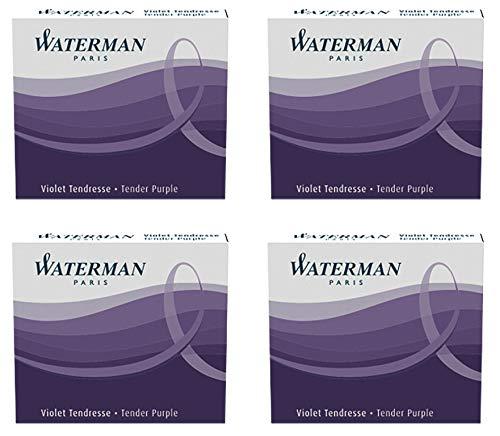 Waterman - 4 astucci di 6 cartucce internazionali corte, per penna stilografica, inchiostro viola tenerezza (Tender Purple)