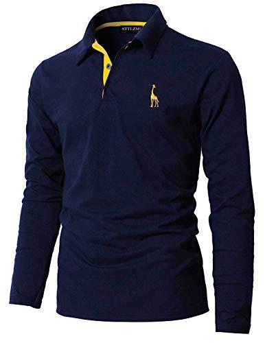 STTLZMC Poloshirt Herren Langarm Basic T-Shirt Freizeit Giraffe Stickerei Polohemd,Blau 1,M