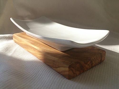 D.O.M.–Porta saponetta in porcellana e legno di ulivo