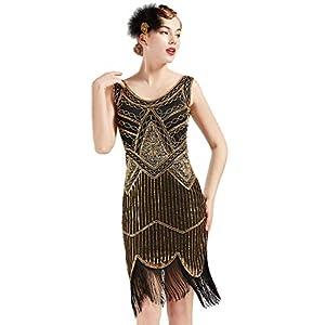ArtiDeco Damen Pailletten 1920s Kleid Flapper Charleston Kleid V Ausschnitt Great Gatsby Motto Party Damen Fasching Kostüm Kleid