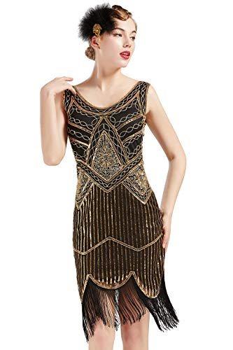 ArtiDeco Damen Pailletten 1920s Kleid Flapper Charleston Kleid V Ausschnitt Great Gatsby Motto Party Damen Fasching Kostüm Kleid (Gold Schwarz, - Flapper Kostüm Für Damen