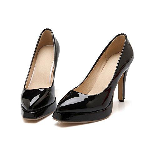 VogueZone009 Femme Pointu Pu Cuir Tire Couleur Unie à Talon Haut Chaussures Légeres Noir