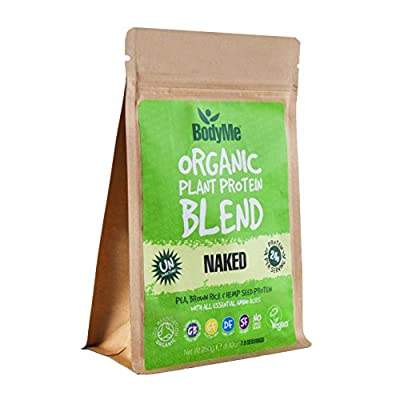 BodyMe Organic Vegan Protein Powder Blend | Naked Raw Natural | 250g | UNSWEETENED with 3 Plant Proteins from BodyMe