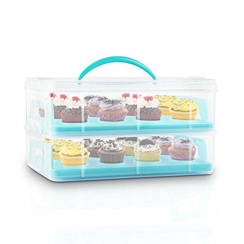 Klarstein USS Blue Cookie Kuchentransportbehälter tragbarer Tortenbuttler Kuchenbehälter für Mini-Kuchen, Torten, Muffins, Cookies und andere Lebensmittel (2 Etagen-Transportbox, mit Henkel, 2 Einleger) blau Muffin-top-dosen
