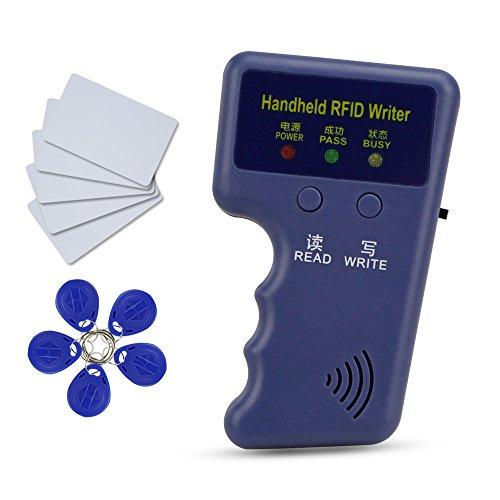 HFeng Nouveau 125Khz Handheld RFID Copieur Lecteur Carte Lecteur Duplicator Programmeur + 10 pcs EM4305 / T5577 clé Carte jeton Tags