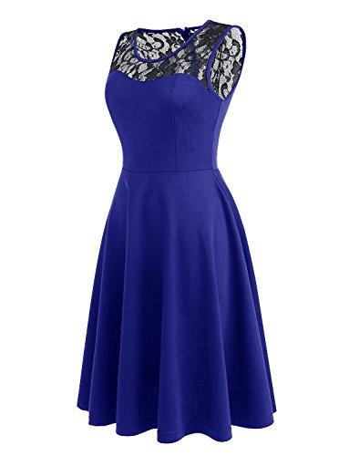 Dressystar Spitze Kleid Damen Vintage Kleid Brautjungfernkleid 50er Rockabilly Rundhals Schwarz Royalblau