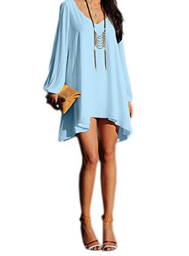 DELEY Femmes Chiffon en vrac Chemisier T-Shirt Été Mini Robe de Plage Tops Tunique Bleu clair