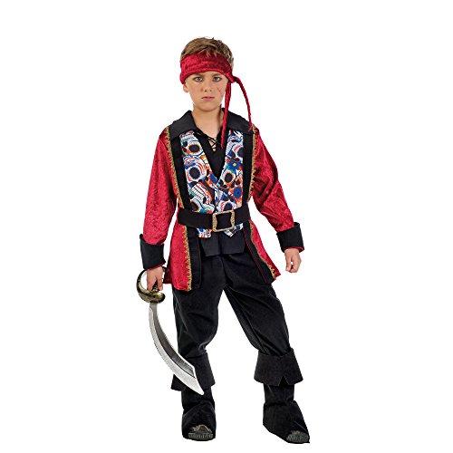 Feuriger Pirat Kostüm Jungen schwarz rot Kostümklassiker zum Karneval - 11/13 Jahre (Commodore Norrington Kostüm)
