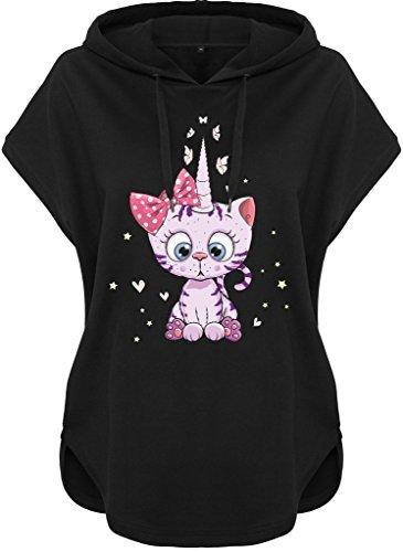 Kawaii à capuche Pull à capuche Femmes femmes Sweat à capuche Caticorn Kittykat Kitty Chat chat (Motif 54) Noir