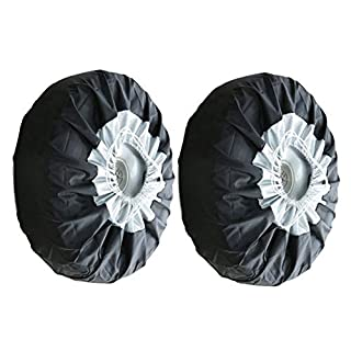 Ainstsk 1/2/4Pcs Wheel Tire Cover,Universal 13-19 inch Wheel Bag Tote Tire Tyre Spare Cover,Durable Car Black Oxford Cloth Dust-Proof Storage Bags Lightweight Tire Car Case for Car, SUV,Minibus(2Pcs)