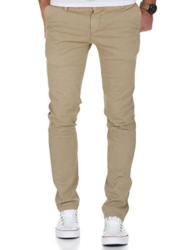 Amaci&Sons Herren Vintage Slim Fit Stretch Chino Hose Jeans 7011 Sand Vintage W34/L32