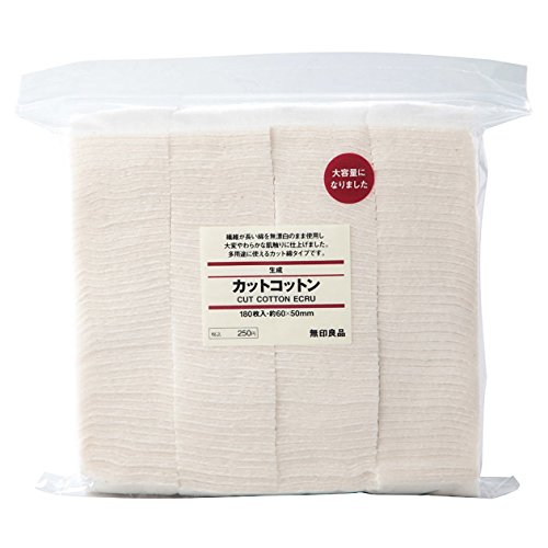 MUJI Makeup Facial Soft Cut Cotton Unbleached 60x50mm 180pcs from Japan Test