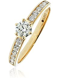 0.65CTS Certified G/VS2 centre .40CT Brilliant Diamond Cut Ring in 18k Yellow Gold