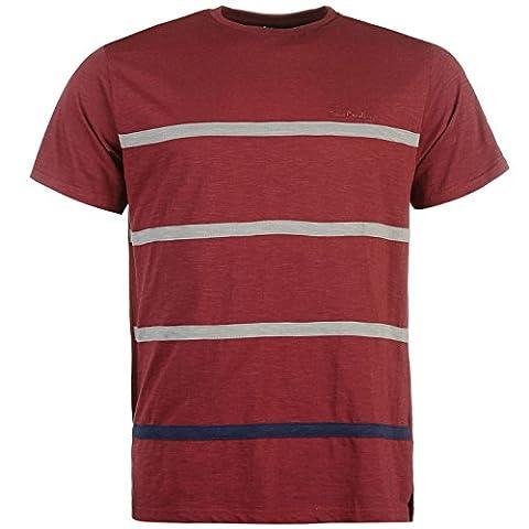 Pierre Cardin Hommes 100% Coton Court Manches Stripe TShirt- Bourgogne Charcoal- L