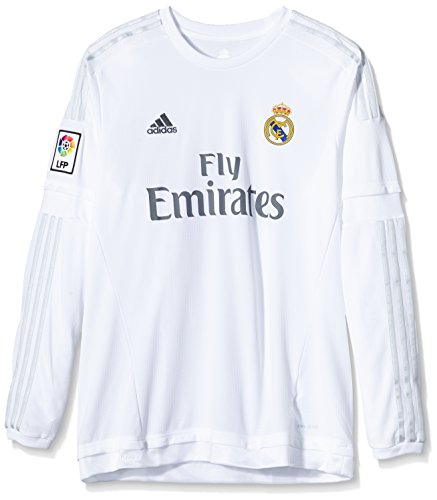 best value 2381b d44cc Adidas Men's H Long Sleeve Real Madrid Third Jersey -  White/Silver/White/GRICLA, Large