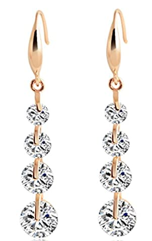 SaySure - Trendy Gold And Silver Plated Crystal Dangle Earring Water Drop