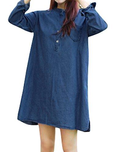 Femme Col Montant Manches Longues Bouton Fermeture Jeans Robe Tunique Bleu Bleu