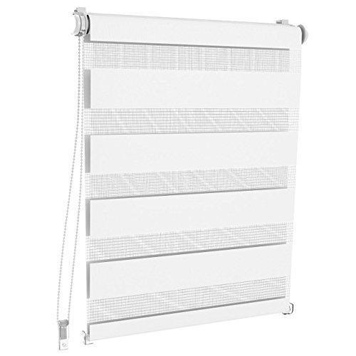 Homelux Doppelrollo Duo-Fensterrollo Klemmträger Kettenzug Seitenzug 60 x 230 cm Weiss