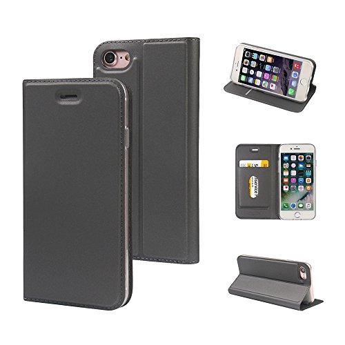 MTRONX für Apple iPhone 8 Hülle, iPhone 7 Hülle, Magnetisch Folio Flip PU Leder Weich TPU Case Cover Handyhülle Schutzhülle Tasche Etui mit Ständer und Kartenfach - Grau(MA-GY) Leder-flip Folio
