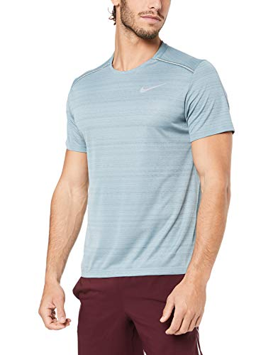 Nike Herren M NK DRY MILER SS T-shirt,Grau (aviator grey/heather/hasta/Reflective),S