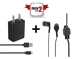 DAD COMBO PACK   High Speed Mobile Charger + BASS Boost Earphone   Supports All Smartphones like Motorola Moto Z Play