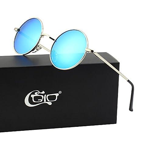 CGID Kleine Retro Vintage Sonnenbrille, inspiriert von John Lennon, polarisiert mit rundem Metallrahmen, für Frauen und Männer