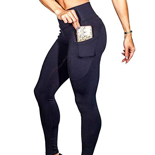 Damen Leggings Yoga Capris Lang Hosen Kompression Sport Trainingshose S M L XL