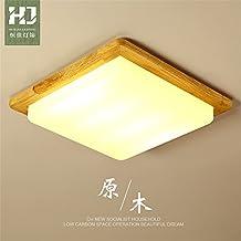 Colgante LED modernos accesorios de montaje a ras de techo creativo de Luz Lámpara de techo de madera simple corona de luz apagada la luz de tatami japonés Iluminación de techo, 450mm de tres colores