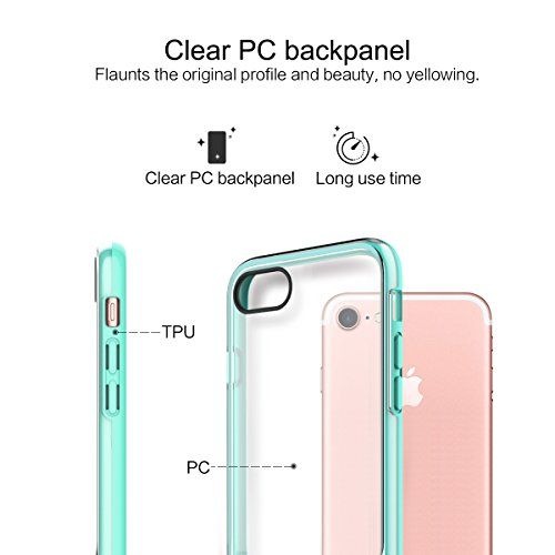 ROCK Royce Active Series Coque iPhone 7,Transparent Phone Étui avec Kickstand,Cas de Téléphone en PC+TPU Plastique Protégez votre Apple iPhone 7(4.7inch) - Rose Rouge Menthe