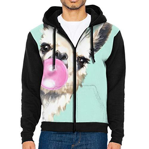 Nicegift Bubble Gum Sneaky Llama In Green Men's Full-Zip Hoodie Jacket Sweatshirt XL Star Zip Youth Sweatshirt